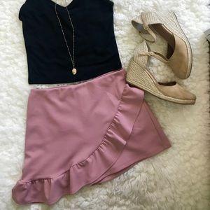 Dresses & Skirts - Mauve Pink Havana Ruffled Asymmetrical Skirt/Skort